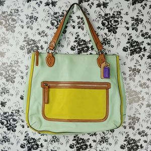 Coach Poppy Collection Hallie Tote in Aqua Celadon